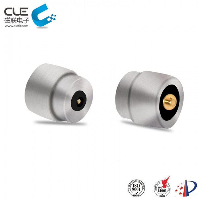 Magnetic battery charger connector for LED