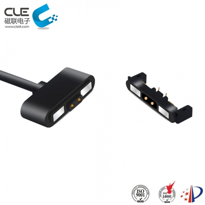 Magnetic laptop charger cable connector with 2 pin