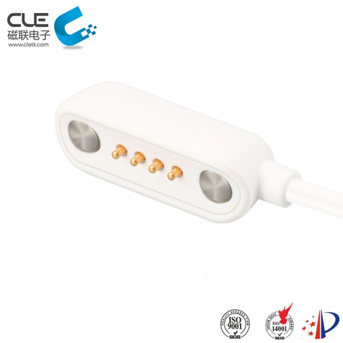 High class 4 pin pogo pin magnetic connector with cables
