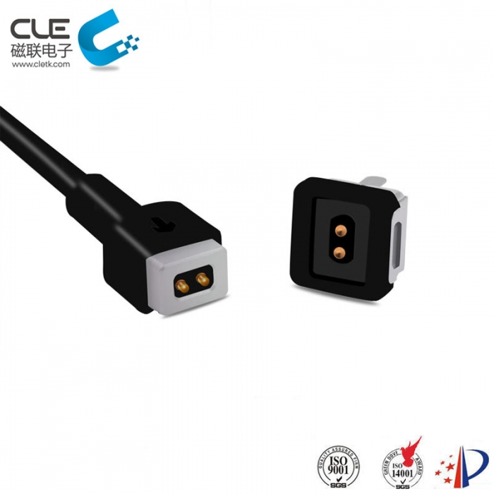 Male and female magnetic charging cable connector for LED