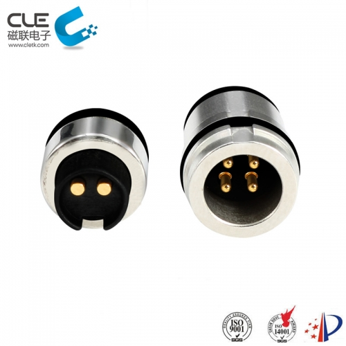 Male and female magnetic pogo connector for bluetooth earphone