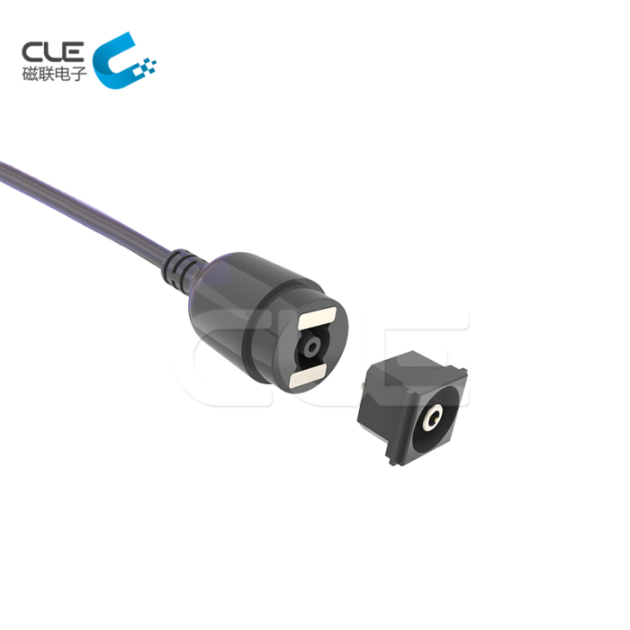 Custom DC magnetic power cable connector for medical equipment